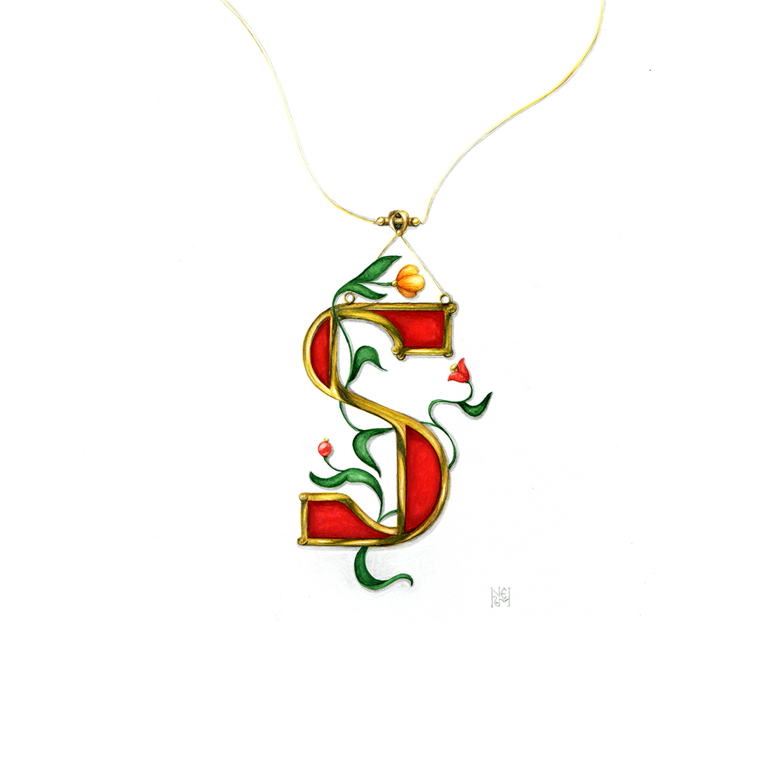 S letter jewelry design